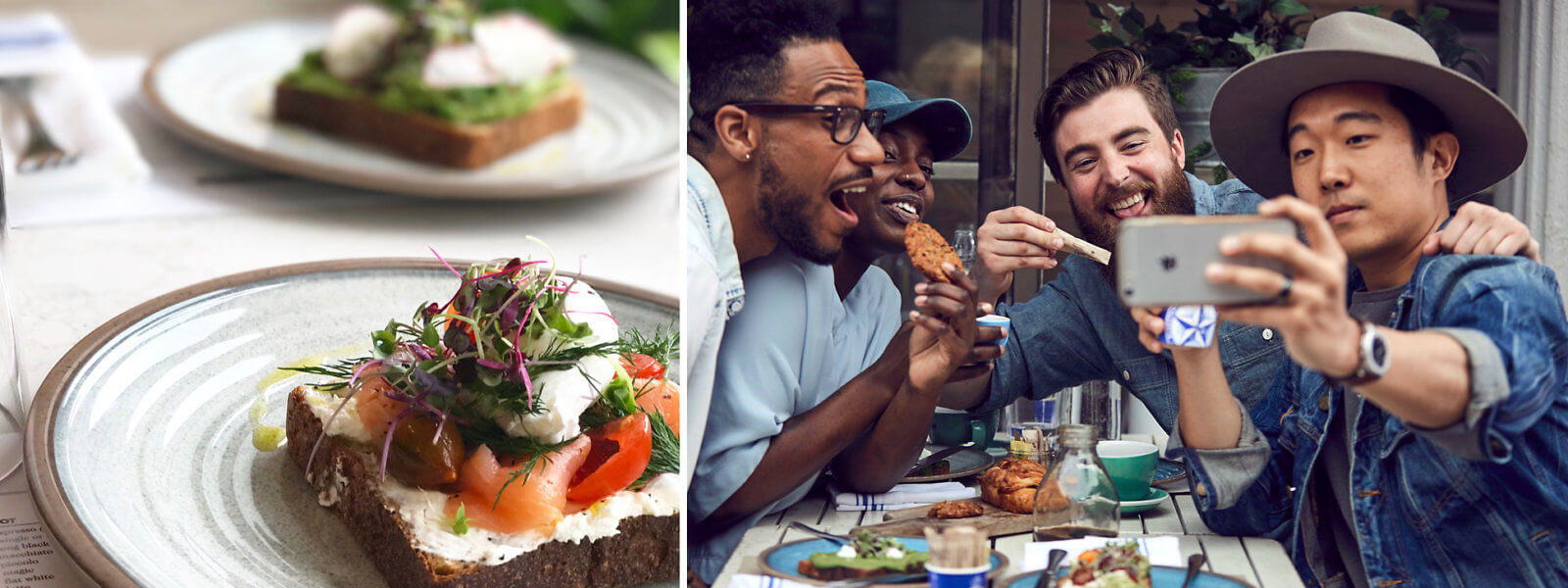 Two images. Left image: Salmon brioche with herb crème fraiche on a plate with avo smash on a plate in the background. Right image: Four guys sitting at a table outside, enjoying food while posing for selfie.